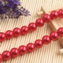 Beads, Glass Imitation pearls, Glass, Pinkish red , Round shape, Diameter 12mm, 7 Beads, [FZZ0064]